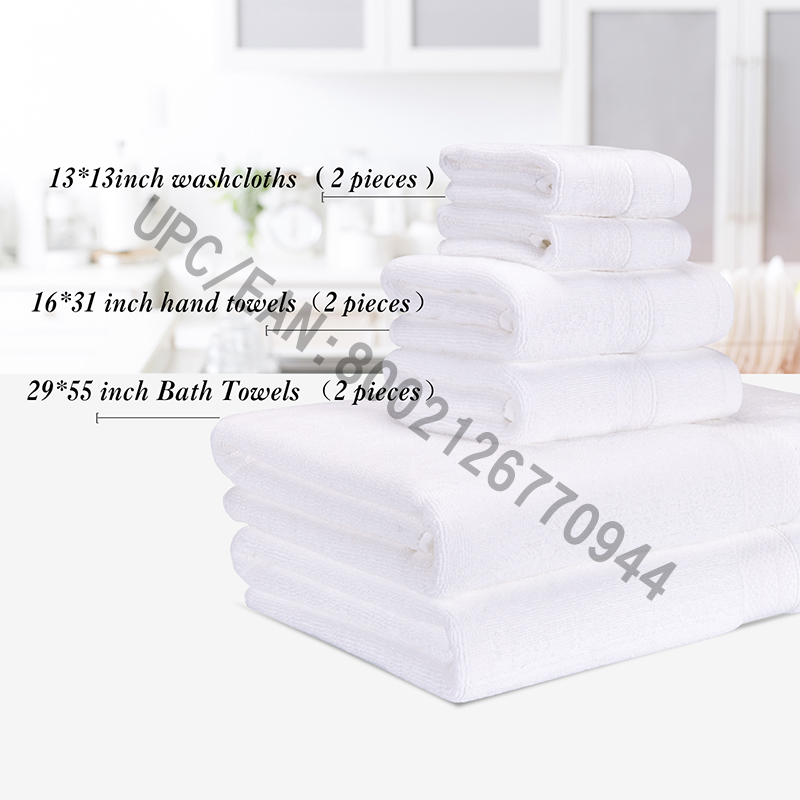 JMD TEXTILE Bathroom Towels Set, Combed Cotton Towels, Set of 6,2 Washcloth,2 Hand Towels,2 Bath Towels,Kitchen,Pool,Household,Durable,Absorbent,Comfortable,Extra Large Towel(White, 6)
