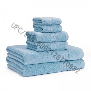 Bathroom Towels Set Clearance,Combed Cotton Towels Set of 6,2 Washcloth,2 Hand Towels,2 Bath Towels,Towels Pool Household Towels Durable Absorbent Comfortable Towels Extra Thick Soft(Light Blue, 6)