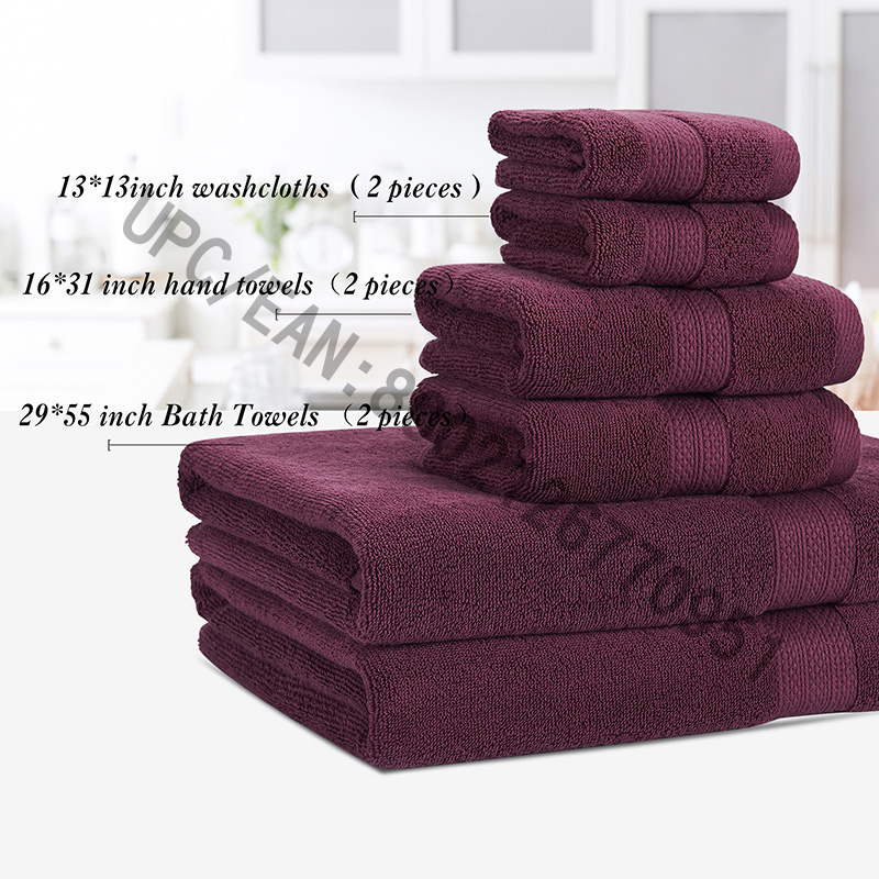 JMD TEXTILE Bathroom Towels Set, Towels Set of 6 Combed Cotton,2 Washcloth,2 Hand Towels,2 Bath Towels,Towels Pool Household Towels Durable Towels Comfortable Absorbent Purple Bathroom Towel Set